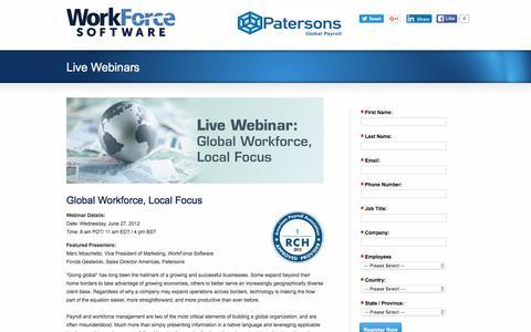 Screenshot of Landing Page workforcesoftware.com - Global Workforce, Local Focus | WorkForce Software - captured May 10, 2016