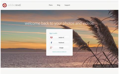 Screenshot of Login Page adoberevel.com - Adobe Revel - captured Nov. 2, 2014