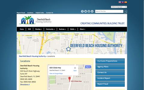 Screenshot of Locations Page dbhaonline.org - Locations - Deerfield Beach Housing Authority - captured Oct. 6, 2014