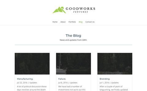 Screenshot of Blog goodworksventures.com - Blog - Goodworks Ventures - captured July 21, 2018