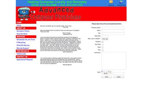 Screenshot of Testimonials Page subduedsoftware.com - ACP-Testimonials - captured Sept. 30, 2014