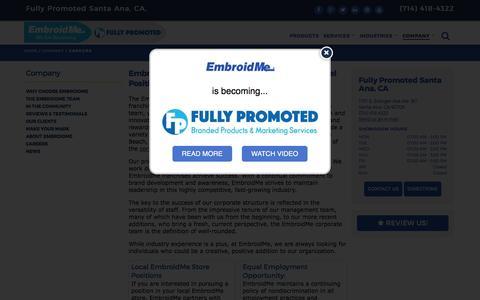 Screenshot of Jobs Page embroidme.com - Custom uniforms, Logo t shirt,Careers, Job Opportunities | EmbroidMe of Santa Ana, CA - captured May 17, 2017