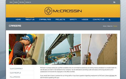 Screenshot of Jobs Page mccrossin.com - Careers - McCrossin Corporate Site - captured Oct. 18, 2017