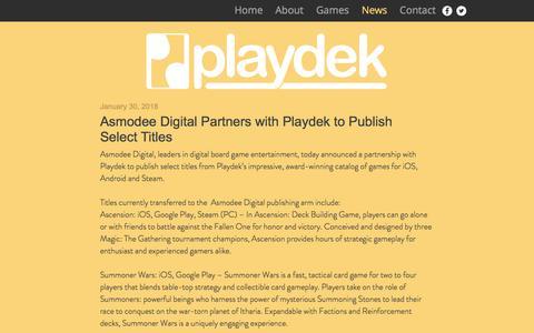 Screenshot of Press Page playdekgames.com - website | News - captured July 12, 2018