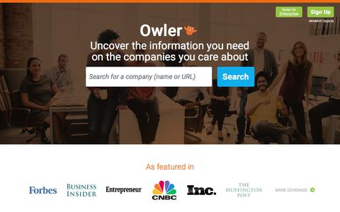 Screenshot of Home Page owler.com - Owler: Competitive Intelligence to Outsmart Your Competition - captured May 10, 2018