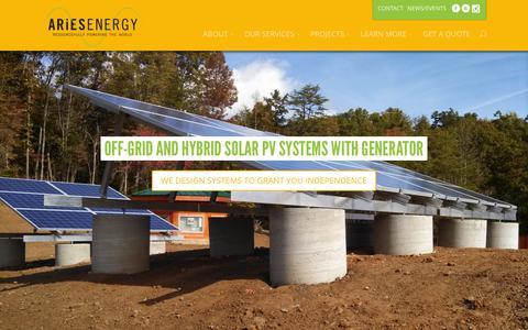 Screenshot of Home Page ariesenergy.com - ARiES Energy | Resourcefully Powering the World - captured Feb. 5, 2016