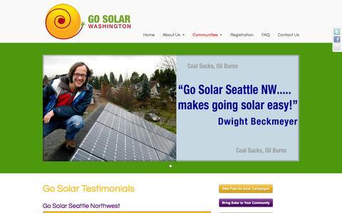 Screenshot of Testimonials Page gosolarwashington.com - Go Solar Washington Testimonials | Go Solar Washington - captured Oct. 22, 2014