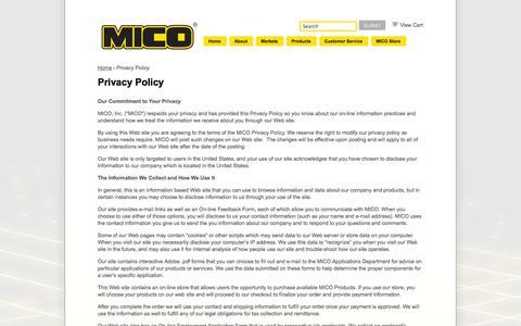 Screenshot of Privacy Page mico.com - Privacy Policy/Copyright Statements | MICO, Inc. - captured Oct. 3, 2014