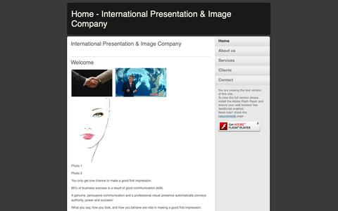 Screenshot of Home Page internationalpresentationandimage.com - Home - International Presentation & Image Company - captured Oct. 12, 2018