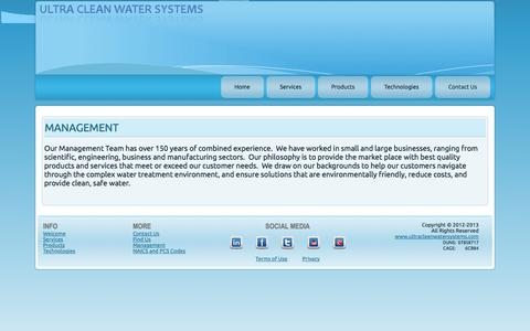 Screenshot of Team Page ultracleanwatersystems.com - Management - captured Sept. 30, 2014