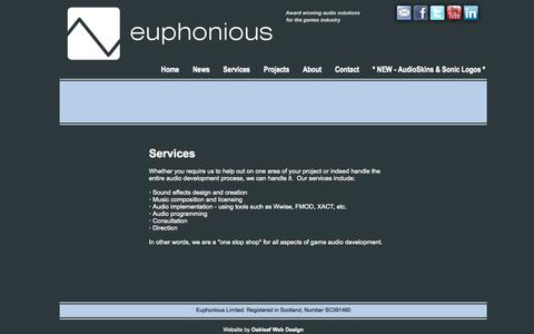 Screenshot of Services Page euphonious.eu - Euphonious Limited - Services - captured Oct. 3, 2014