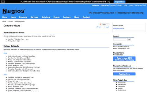 Screenshot of Hours Page nagios.com - Company Hours  -  Nagios - captured Sept. 22, 2014