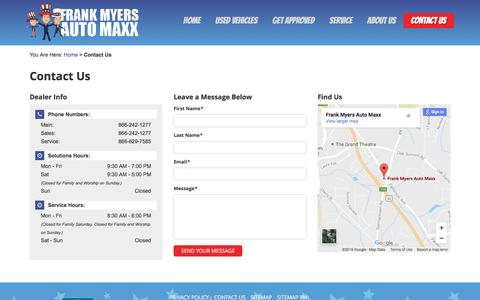 Screenshot of Contact Page frankmyersauto.com - Contact Us Frank Myers Auto Maxx 4200 N. Patterson Ave Winston-Salem, NC 27105 | 866-242-1277 - captured Oct. 23, 2016