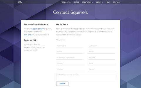 Screenshot of Contact Page airsquirrels.com - Contact Us | Squirrels - captured March 30, 2018