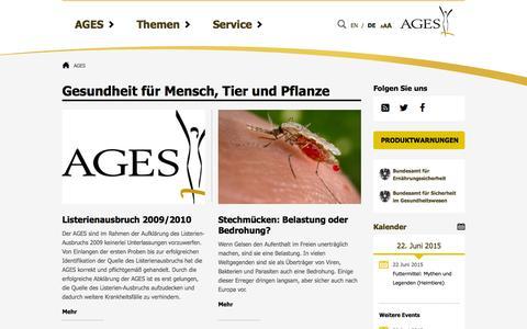 Screenshot of ages.at - AGES - Österreichische Agentur für Ernährungssicherheit - captured June 23, 2015