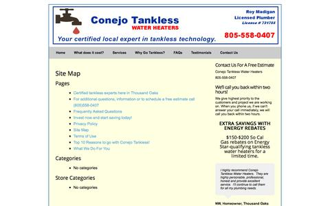 Screenshot of Site Map Page conejotankless.com - Site Map » Conejo Tankless Water Heaters - captured Aug. 17, 2017