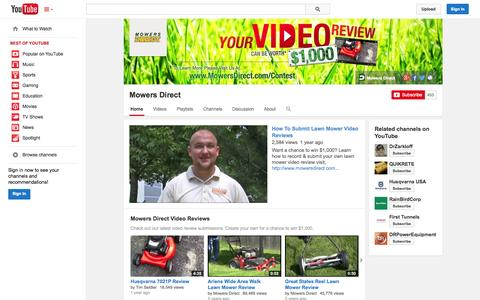 Screenshot of YouTube Page youtube.com - Mowers Direct  - YouTube - captured Oct. 25, 2014