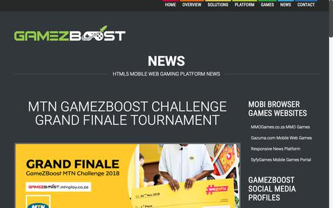 Screenshot of Press Page gamezboost.com - News  –  GameZBoost – White Label Gaming and Tournaments Solutions & Platforms – HTML5 Mobile, Desktop & App Games - captured Dec. 17, 2018