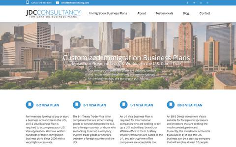 Screenshot of Home Page jdcconsultancy.com - Immigration Business Plans for the E2, L1, E1 and EB5 Visas   JDC Consultancy - captured Sept. 25, 2018