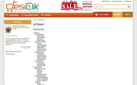 Screenshot of Site Map Page desiclik.com - Sitemap | Indian Clothes,Jewelry,Handicrafts,Sweets,Gifts Online @ DesiClik, USA - captured June 28, 2017