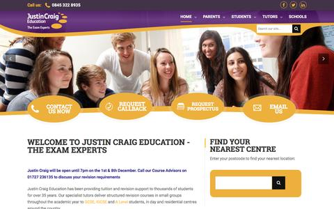 Screenshot of Home Page justincraig.ac.uk - GCSE Revision & A Levels Revision Courses | Justin Craig - captured Nov. 27, 2016