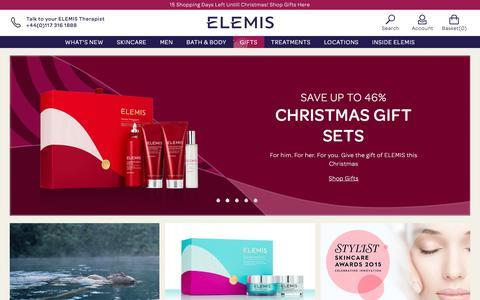 Screenshot of Home Page elemis.com - ELEMIS | No1 British Anti-Ageing Skincare - captured Dec. 8, 2015