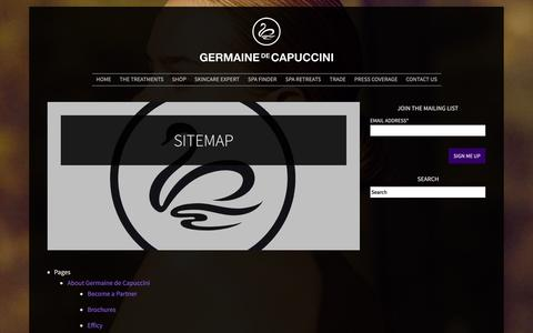 Screenshot of Site Map Page germaine-de-capuccini.co.uk - Sitemap - Germaine de Capuccini - captured Oct. 2, 2014