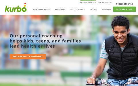 Screenshot of Home Page kurbo.com - Personal Health Coaching for Teens, Kids, and Families - Kurbo - captured March 1, 2016