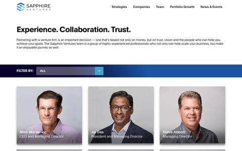 Screenshot of Team Page sapphireventures.com - Team | Sapphire Ventures - captured Sept. 21, 2019