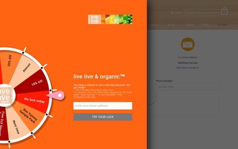 Screenshot of Contact Page live-live.com - Contact Us – live live & organic™ - captured July 6, 2018