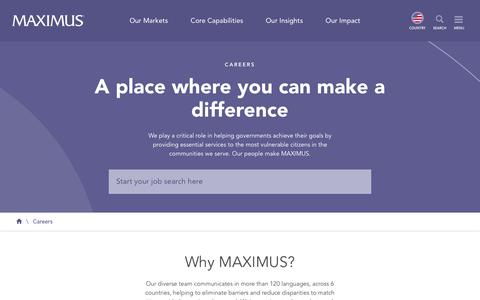 Screenshot of Jobs Page maximus.com - Careers   MAXIMUS - captured April 27, 2019