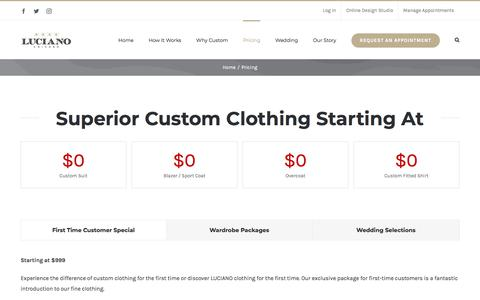Screenshot of Pricing Page lucianochicago.com - How Much Does A Custom Suit Cost? - LUCIANO Chicago - captured July 14, 2018