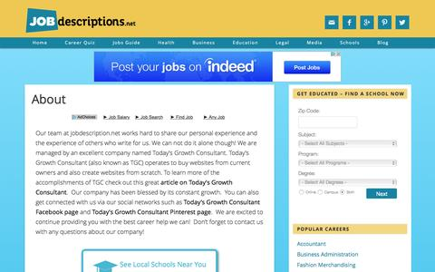 Screenshot of About Page jobdescriptions.net - About - Job Descriptions - captured June 19, 2016