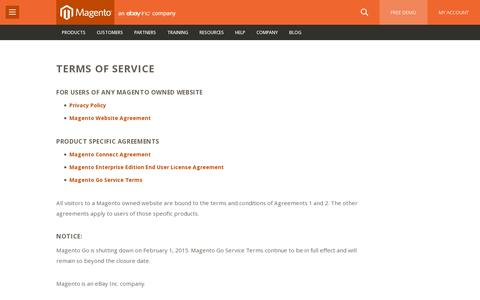 Screenshot of Terms Page magento.com - Terms of Service | Magento - captured July 20, 2014