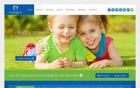 Screenshot of Home Page drmichaels.com - Dentists Dubai, Best Dental Clinic UAE - captured Oct. 17, 2015