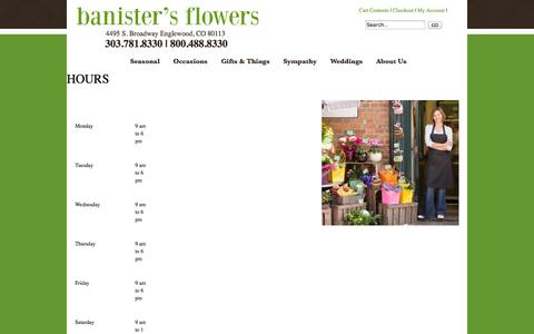 Screenshot of Hours Page banistersflowers.com - Hours : Englewood CO Florist : Same Day Flower Delivery for any occasion - captured Oct. 29, 2014