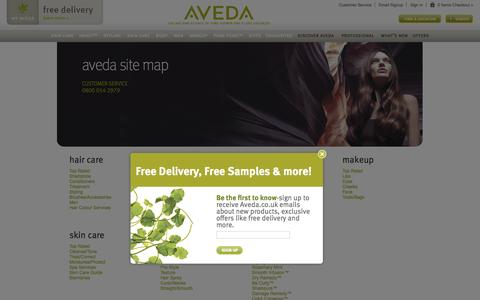 Screenshot of Site Map Page aveda.co.uk - Aveda UK | Official UK Site | Site Map - captured Sept. 23, 2014