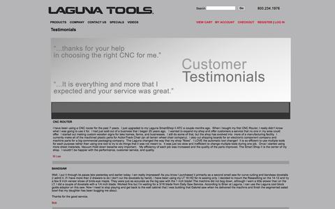 Screenshot of Testimonials Page lagunatools.com - Laguna Tools Customer Testimonials - captured Sept. 22, 2014