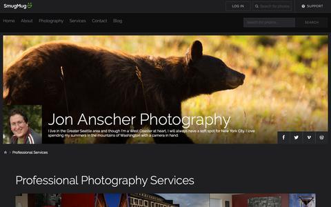 Screenshot of Services Page jonanscherphoto.com - Professional Services - Jon Anscher Photography - captured Oct. 14, 2018