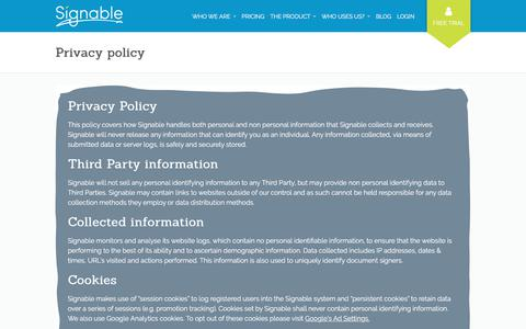 Screenshot of Privacy Page signable.co.uk - Privacy policy - Signable - captured April 17, 2018