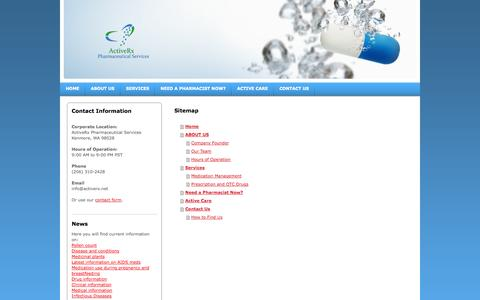 Screenshot of Site Map Page activerx.net - Home - ActiveRx Pharmaceutical Services - captured Oct. 4, 2014