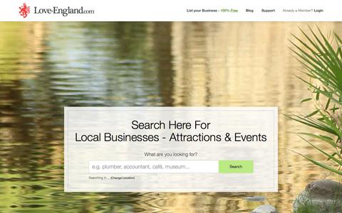 Screenshot of Home Page love-england.com - Love-England.com - Search Local Businesses, Attractions & Events - captured Sept. 17, 2015