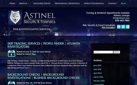 Screenshot of Blog astinel.com - Asset Protection Services | Risk & Investigative Education | GA - captured Nov. 21, 2016