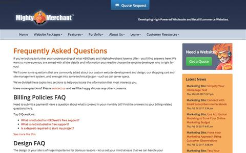 Screenshot of FAQ Page mightymerchant.com - Frequently Asked Questions - Web Design and Marketing FAQ - captured Oct. 25, 2017