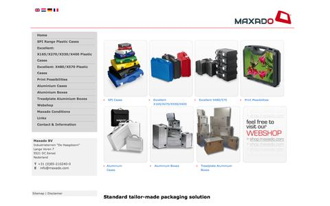 Screenshot of Home Page maxado.com - Maxado the packaging partner for cases and boxes in aluminium or plastic - captured Oct. 4, 2014