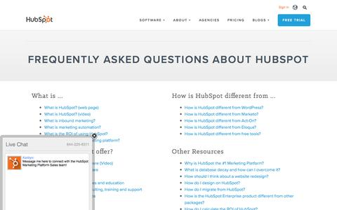 Screenshot of FAQ Page hubspot.com - Frequently Asked Questions About HubSpot - captured June 28, 2016