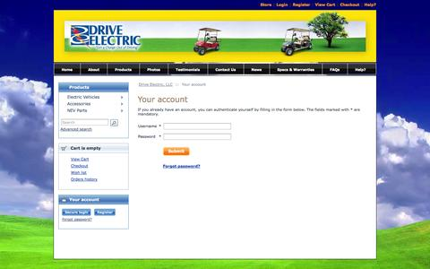 Screenshot of Login Page driveelectric.com - Drive Electric is an authorized direct dealer for Zone Electric Car. - captured Nov. 3, 2014