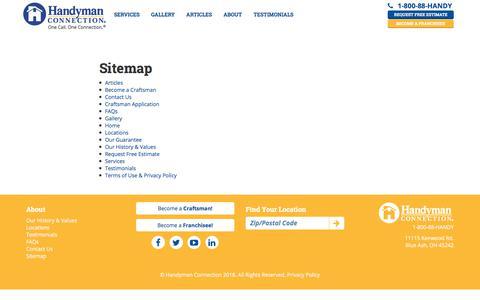 Screenshot of Site Map Page handymanconnection.com - User Sitemap | Handyman Connection - captured Nov. 3, 2019