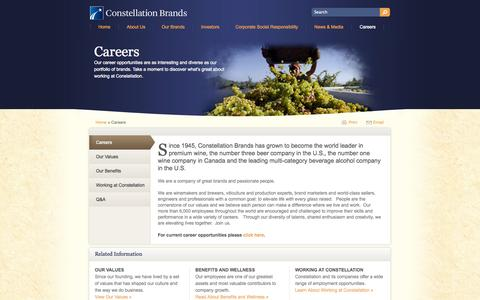 Screenshot of Jobs Page cbrands.com - Career and Job Postings in the Wine and Beer industry | Constellation Brands - captured Sept. 23, 2014