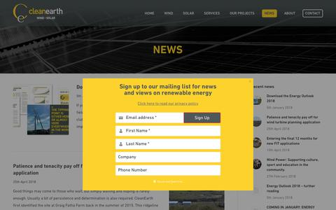 Screenshot of Press Page cleanearthenergy.com - News - CleanEarth Energy - captured July 18, 2018